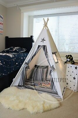 Teepee Tipi kids teepee tent play tent with poles,mat & flags
