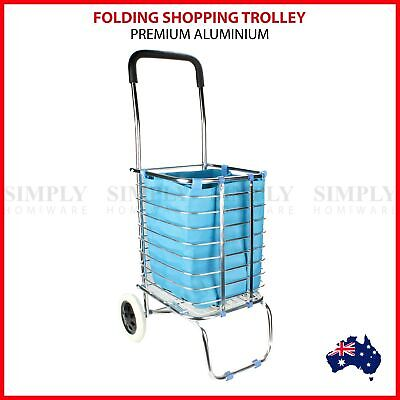 Shopping Cart Carts Trolley Aluminium Foldable Luggage Wheels Folding Basket Bag