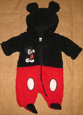 Baby Boys Romper Bodysuit Mickey Mouse Hood Disney Outfit Winter Sz 0000 000 00