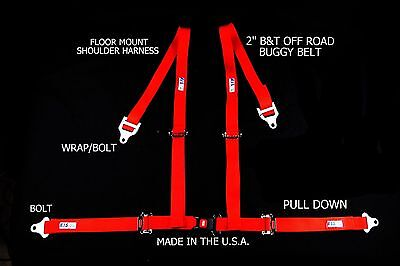 """Rjs Racing 2"""" Buggy Off Road Seat Belt 4 Point B&t Floor Harness Red 4002904"""