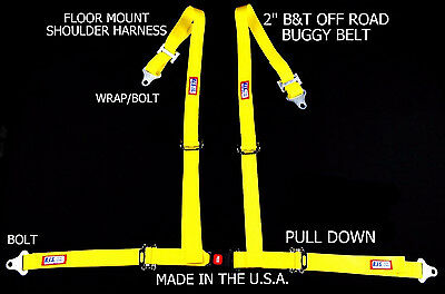 "Rjs Racing 2"" Buggy Off Road Seat Belt 4 Point B&t Floor Harness Yellow 4002906"