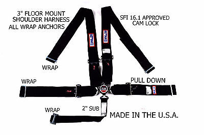Rjs Racing Sfi 16.1 Cam Lock 5 Pt Wrap Seat Belt Floor Harness  Black  1034301