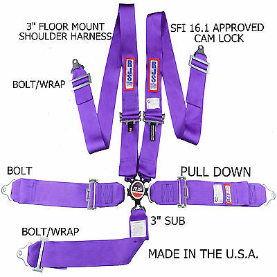Rjs Racing Sfi 16.1 Cam Lock 5 Pt Seat Belt Harness Floor Mount Purple 1034908