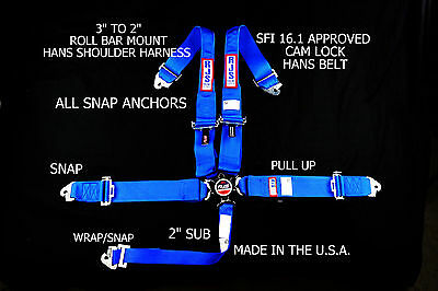 Rjs Racing Sfi 16.1 5Pt Hans Cam Lock Roll Bar Mount Snap Belt Blue 1075103