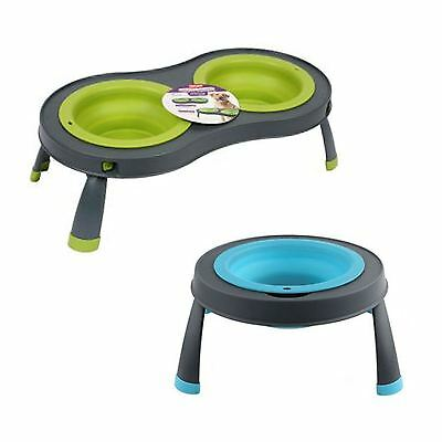 Dexas Popware Single Double Raised Elevated Folding Dog Bowl Feeding Feeder