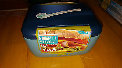 Aladdin Chill Lunch Box 16 Oz  Keep It Cool Insulated Cold Storage Food Blue
