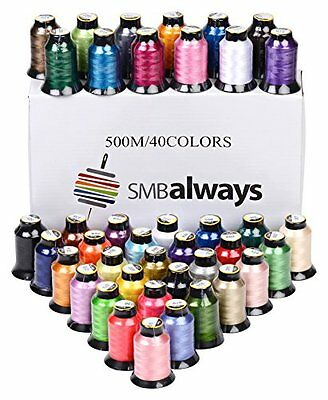 Polyester Embroidery Machine Thread Set 40 Spools, 500m Each by SMB Always
