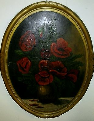 Gemälde Oval  Painting Flowers Oil on Cardboard Frame 19. Cent.