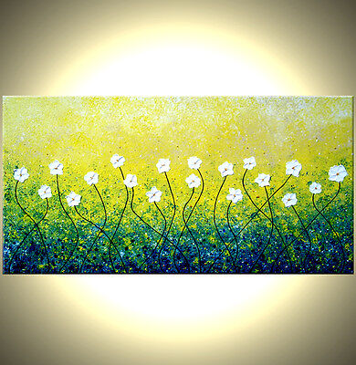 ORIGINAL Abstract White Yellow Blossom FLOWERS Impasto Landscape Painting 48x24