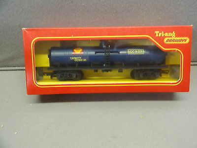 TRIANG  R117 railways TRANSCONTINENTAL SHELL OIL TANK BOGIE WAGON-BOXED