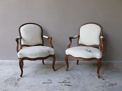 Authentic Pair  Late 18Th Century French Louis 16Th Walnut Bergere Chairs Pegged
