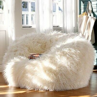 NEW - AUSTRALIA'S LARGEST Fluffy White Faux Fake Shaggy Fur Bean Bag chair.
