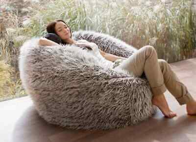 AUSTRALIAS LARGEST Faux Fur fluffy Shaggy Bean Bag Chairs - brown  Home & Cinema