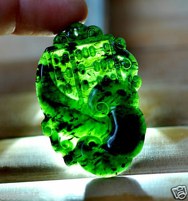 Exquisite Chinese Green black Natural hetian Jade Pendant