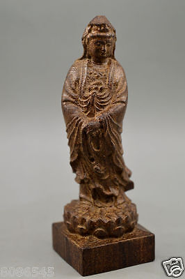 Chinese Old  scented Wood Stand Handwork Carve God Statue guanyin 观音