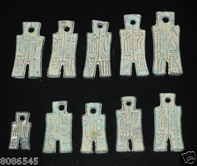 Collect 10pcs Chinese Bronze Knife shape Coin Old Dynasty Antique Currency Cash