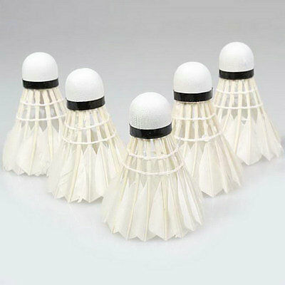 5Pcs Game Sport Training White Duck Feather Shuttlecock Birdies Badminton Ball G