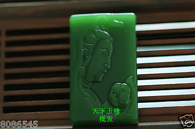 China natural Exquisite green jade hand carved pendant-观音 guanyin