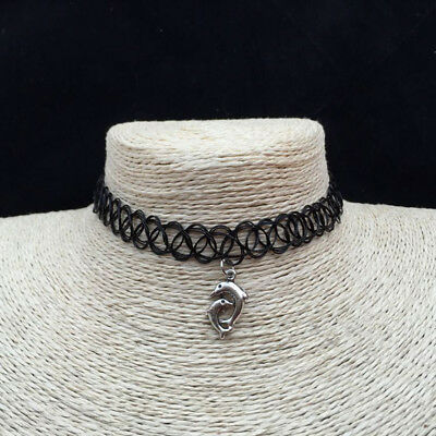 Tattoo Choker Stretch Necklace Black Simple Retro Henna Elastic Boho 90s Gothic