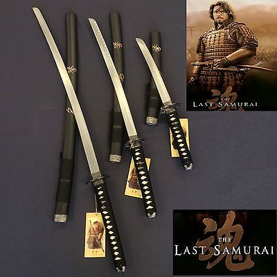 New Black Japanese Last Samurai Three Sword Set with Stand