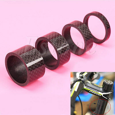 "3/5/10/15/20mm Carbon Fiber Spacer 1 1/8"" For Stem Bicycle Bike Headset Washer N"