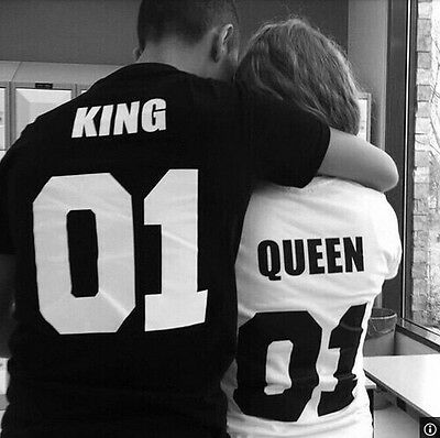 Couple Matching T-Shirts King Queen Valentines Gift His Hers Tee Unsiex