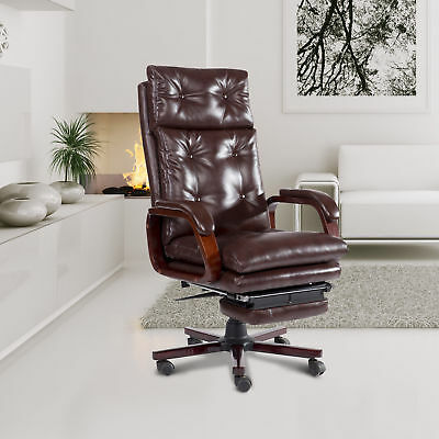 "HOMCOM 67"" High Back Executive PU Leather Recliner Office Chair W/ Footrest BN"