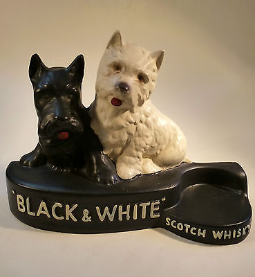 Black & White Scotch Whisky Figur Reklame Scotch Terrier Gips Gipsfigur um 1950