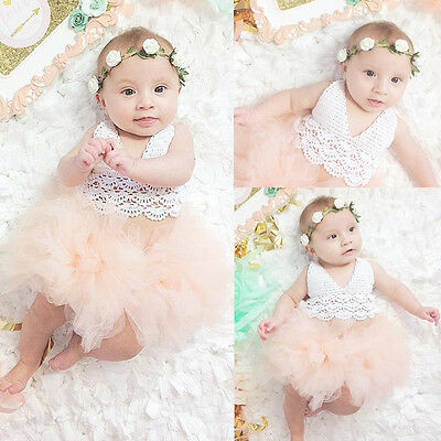 Kids Baby Girl Dress Lace Tulle Skirt Party Romper Outfits Summer Sunsuit 0-18M