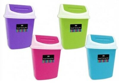 Bright Small 5L Plastic Swing Bin Office Home Bedroom Bathroom Desk Waste Bin