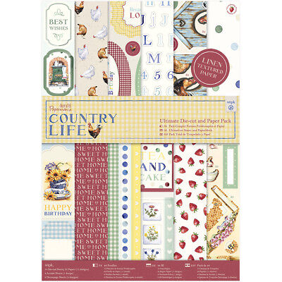 Papermania Ultimate A4 Die Cuts & Paper Pack 48/Pkg Country Life PM160249