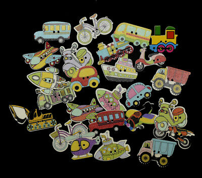 25 or 50 Mixed Transport Wooden Craft Buttons Boys Toys Car Bus Train - BU1016