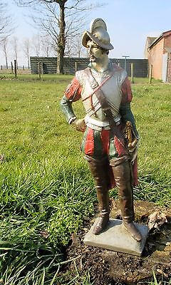 Rare XL Antique Plaster Statue Spanish Knight Conquistador Church 26.37""
