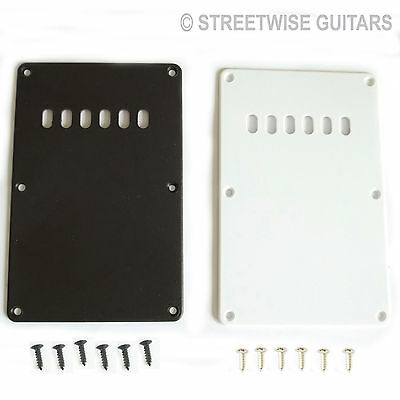 Spring Cover Back Plate For Tremolo On Strat Type Guitar Black or White + Screws