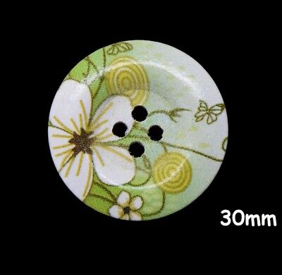 10 Large Wooden Round Flower Pattern Green Buttons 30mm, Craft, Sewing BU1024