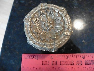 Vintage ornate brass door knob pull antique flower leaves HEAVY Made in Spain