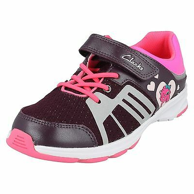 CLARKS Reflect Glo Girls Purple Leather Trainers