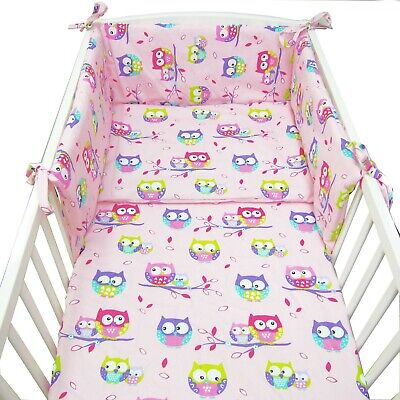 2/3/5 or 6 Pcs Baby Bedding Set 120x90 or135x100cm- Antiallergic - Owls on pink