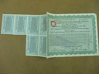 action ferrocarriles nacionales mexico national railways 2$ us gold 6% or 1927