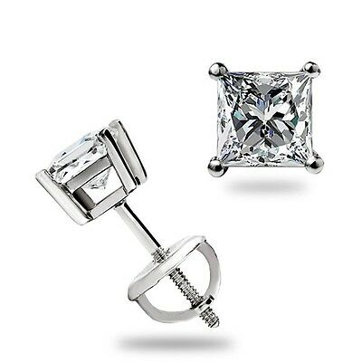 1.0 ct Princess Cut Basket Stud Earrings Lab Diamond 14k White Gold Screw Back