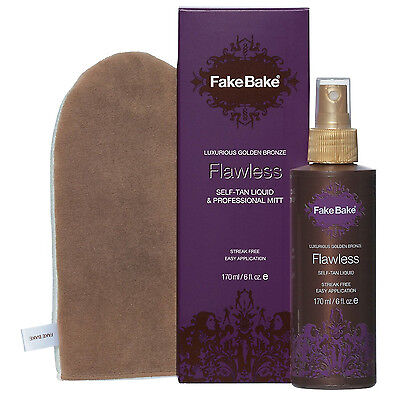 New Fake Bake Flawless Self tanning Mist Spray 6oz Bottle + Gloves + Mitt