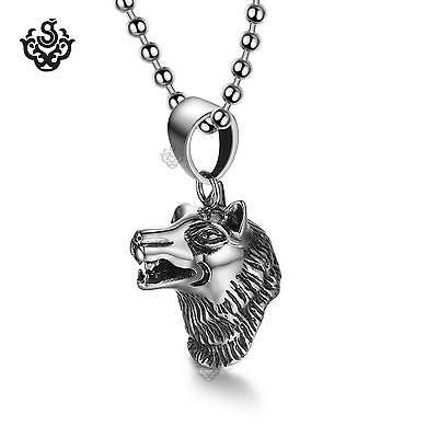 silver wolf pendant stainless steel chain necklace soft gothic