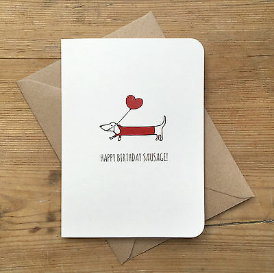 Sausage Dog Birthday Card Dachshund Envelope Cute Any Colour Available