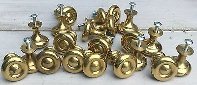 Vintage Lot of 20 Round Polished Brass Cabinet Knobs Drawer Pulls
