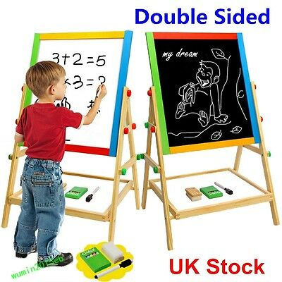 Children Adjustable 2In1 Bedroom Wooden Easel Drawing Learning Board With Chalk
