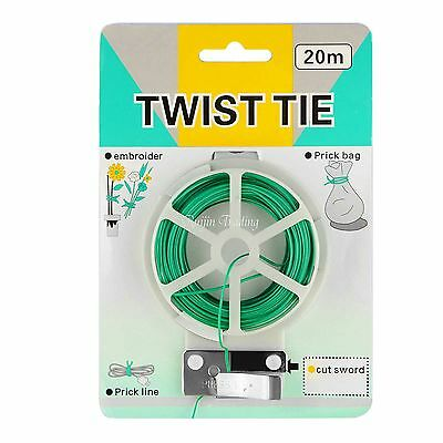 Green Flexible Bendy Garden Plant Support Wire Twine Cable Twist Tie W/ Cutter