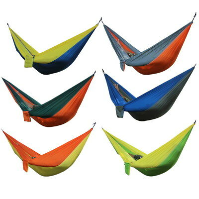Double Portable Outdoor Hammock Swing Bed Parachute Nylon Fabric Travel Camping
