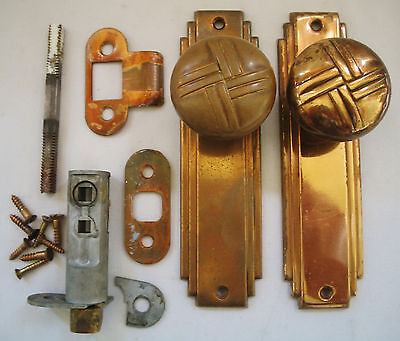 Pair Art Deco Solid Brass Door Knobs & Back Plates, & Hardware, Estate Find