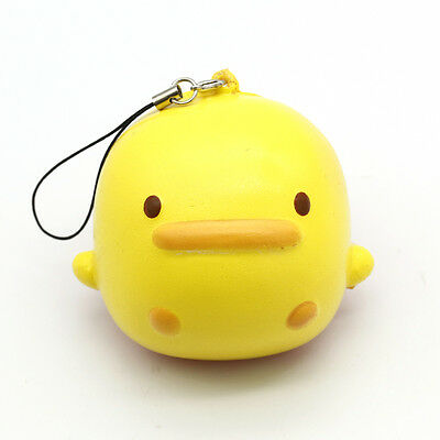 1PC Key/Bag/Phone Straps Cute Yellow Duck Squishy Kawaii Buns Bread Charms