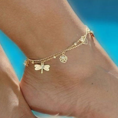 Women Anklet Gold Bead Chain Ankle Bracelet Barefoot Sandal Beach Foot Jewelry